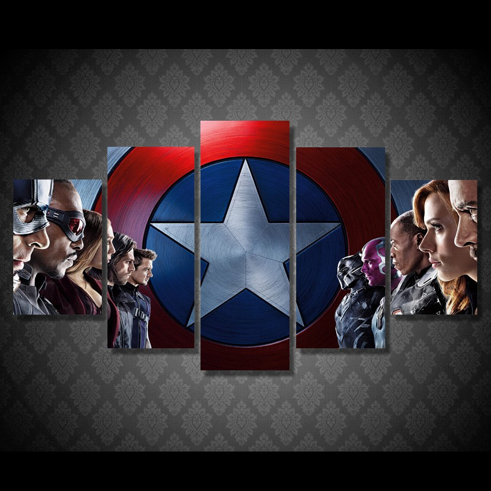 Captain America Movie Superhero Framed 5pc Oil Painting Wall Decor Comics DC Marvel HD