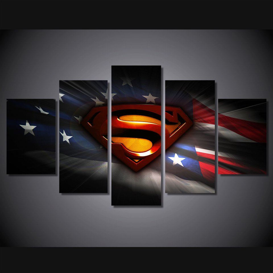 Superman American Flag Framed 5pc Oil Painting Wall Decor Comics DC Marvel HD