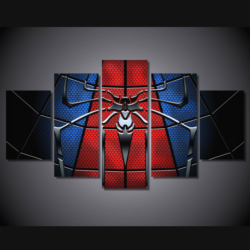 Spiderman Framed 5pc Oil Painting Wall Decor Comics DC Marvel HD Superhero