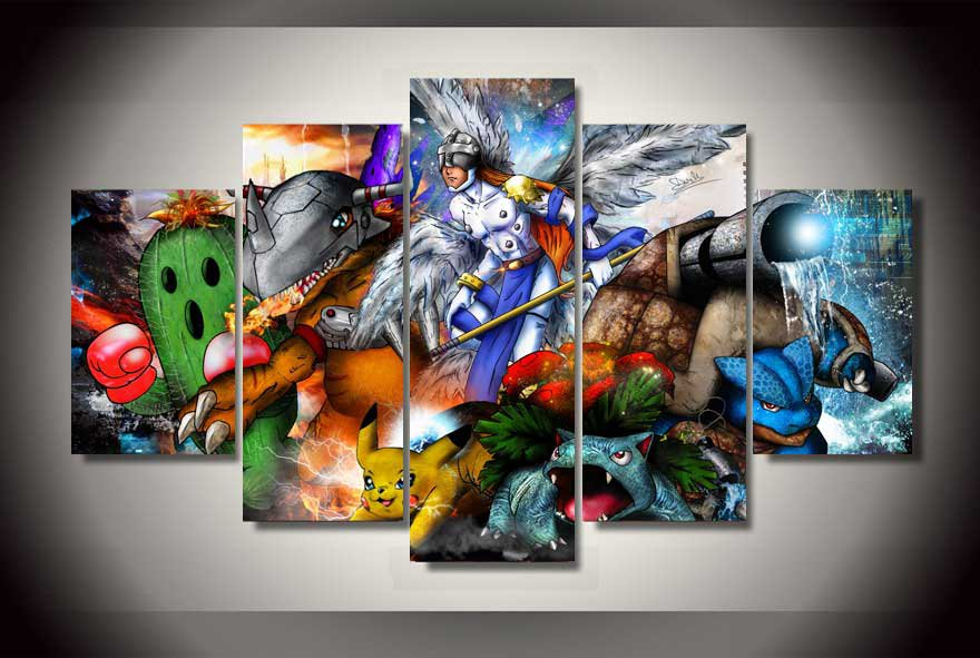 Pokemon Framed 5pc Oil Painting Wall Decor Digimon  HD Cartoon Gaming
