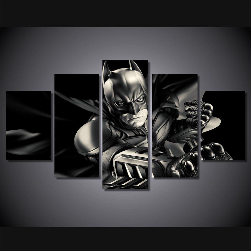Dark Knight Batman Movie 5pc Framed Canvas Oil Painting Wall Decor  HD Superhero