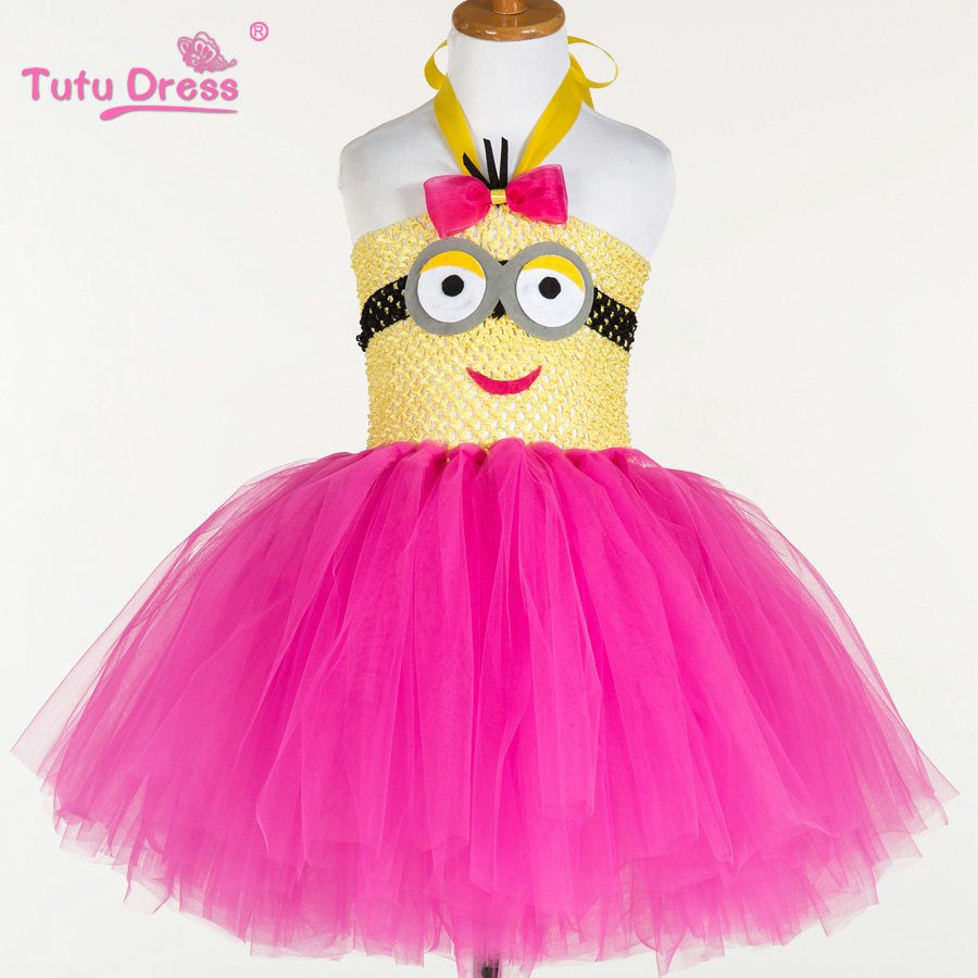 Minion Pink Tutu Dress Kids Girls Ball Gown 2T,3T,4T,5,6,7,8,9,10,11,12