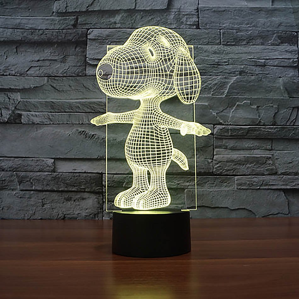 Snoopy 3D LED Light Lamp Tabletop Decor 7 Colors -NEW Peanuts Cartoon Character
