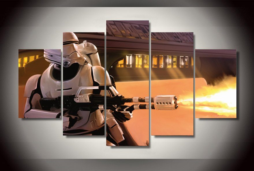 Star Wars Movie Storm Trooper Clone 5pc Wall Decor Framed Oil Painting