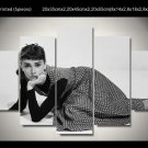 Audrey Hepburn Movie Star Hollywood Icon 5pc Framed Canvas Oil Painting Wall Decor  HD