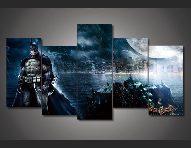 Batman Scene Movie 5pc Wall Decor Framed  Oil Painting