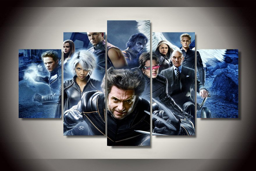 X Men Movie Framed 5pc Oil Painting Wall Decor Comics DC Marvel HD