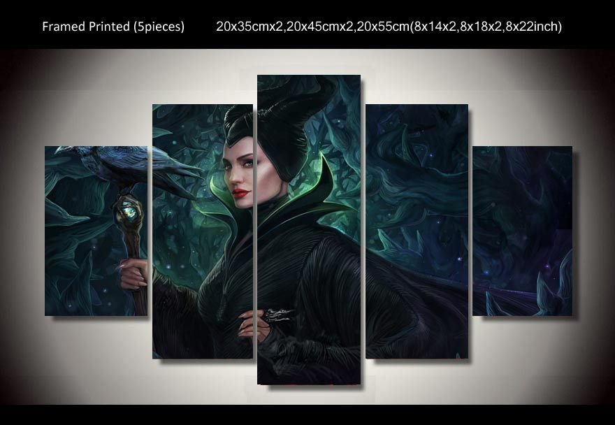 Maleficent Scene Angelina Jolie 5pc Framed Oil Painting Wall Decor Disney Movie