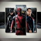 Batman Superman Deadpool 5pc Framed Canvas Oil Painting Wall Decor HD Superhero