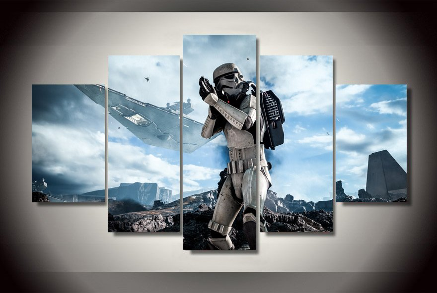 Star Wars Movie Storm Trooper Clone Scene 5pc Wall Decor Framed Oil Painting  HD