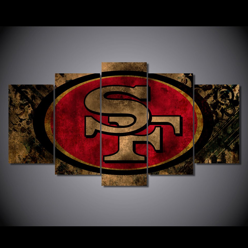 San francisco 49ers sports framed 5pc oil painting wall for 49ers wall mural