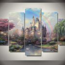 Cinderella's Castle Magical Rainbow 5pc Wall Decor Framed Oil Painting Disney Princess