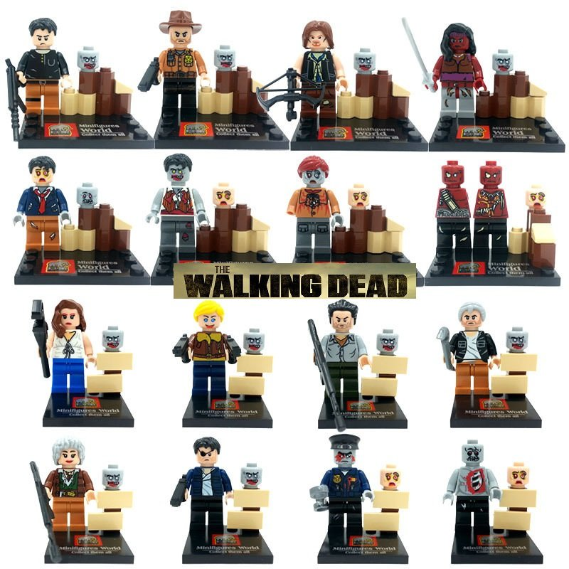 The Walking Dead 16pcs Set New no boxes Mini Figures Building Blocks Minifigures Compatible
