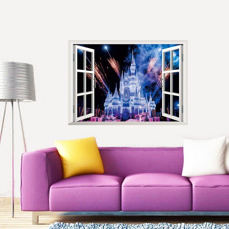 "Cinderella Sleeping Beauty Castle Wall Decal 20""x28"" Disney Design Vinyl Design 2"