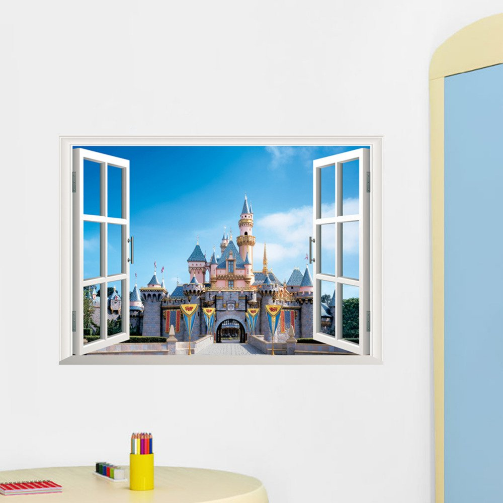 "Cinderella Sleeping Beauty Castle Wall Decal 20""x28"" Design Vinyl Design 4"