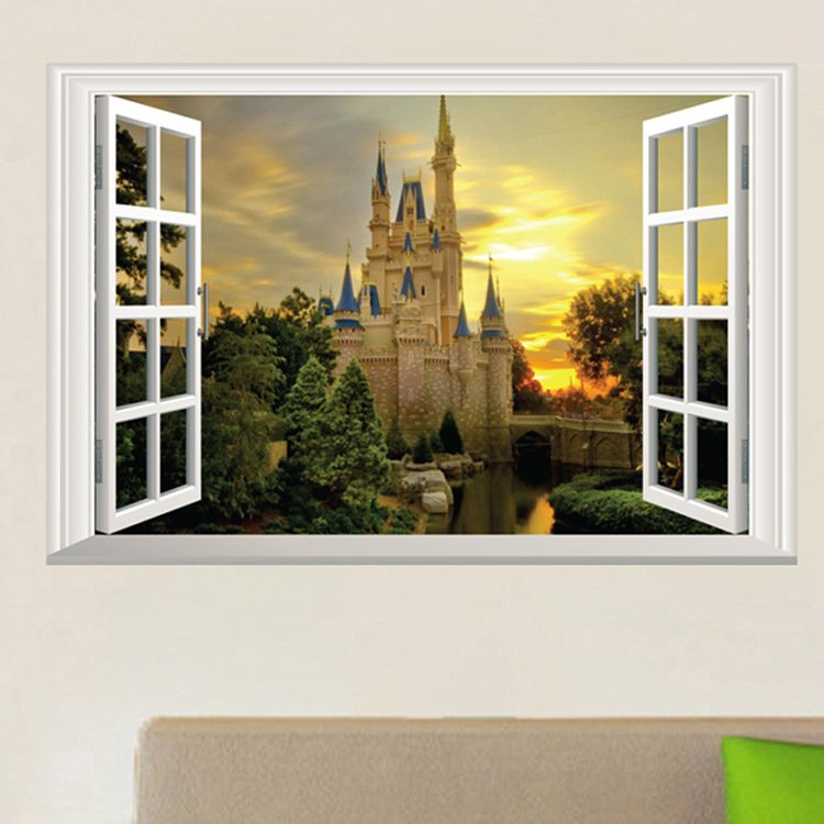 "Cinderella Castle Wall Decal 16""x24"" Design Vinyl"