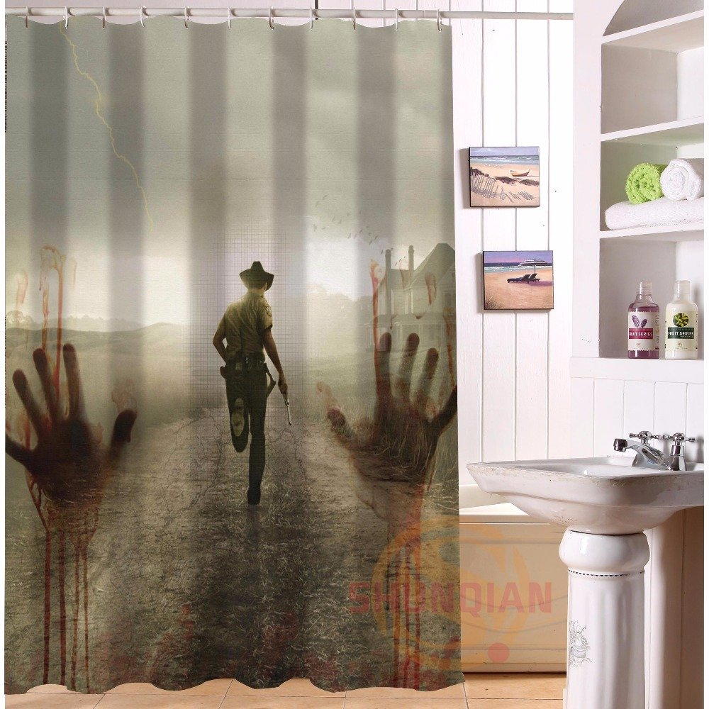 The Walking Dead Shower Curtain Horror Series Hollywood Design Series scene