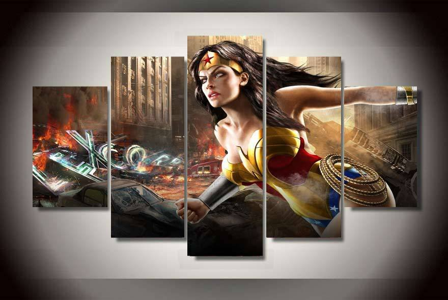 Wonder Woman Comics HD 5pc Wall Decor Framed Oil Painting Superhero