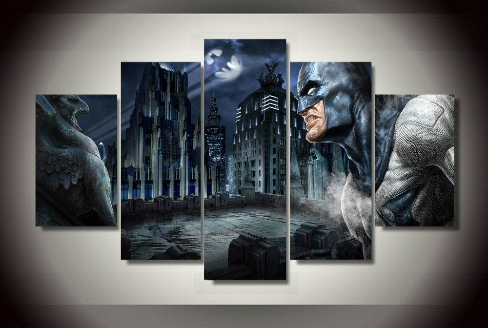 Batman arkham dark knight hd 5pc wall decor framed oil for Dark knight mural