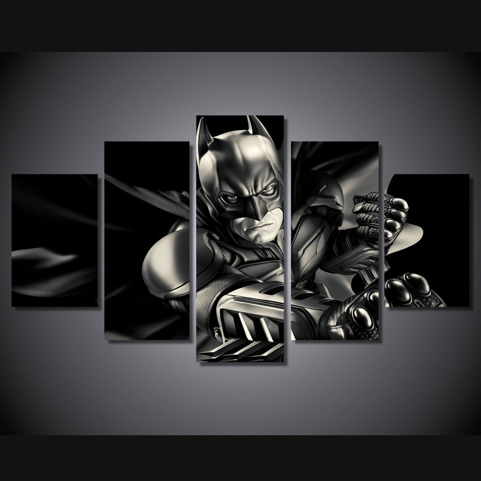 Batman Dark Knight 5pc Wall Decor Framed Oil Painting NEW ARRIVAL Superhero