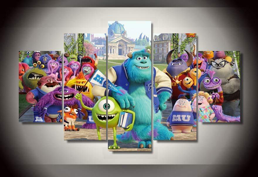 Monsters University Monsters Inc 5pc Wall Decor Framed Oil Painting