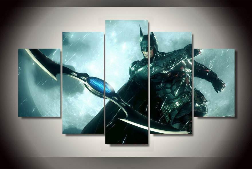 Batman Knight City Group Framed 5pc Oil Painting Wall Decor