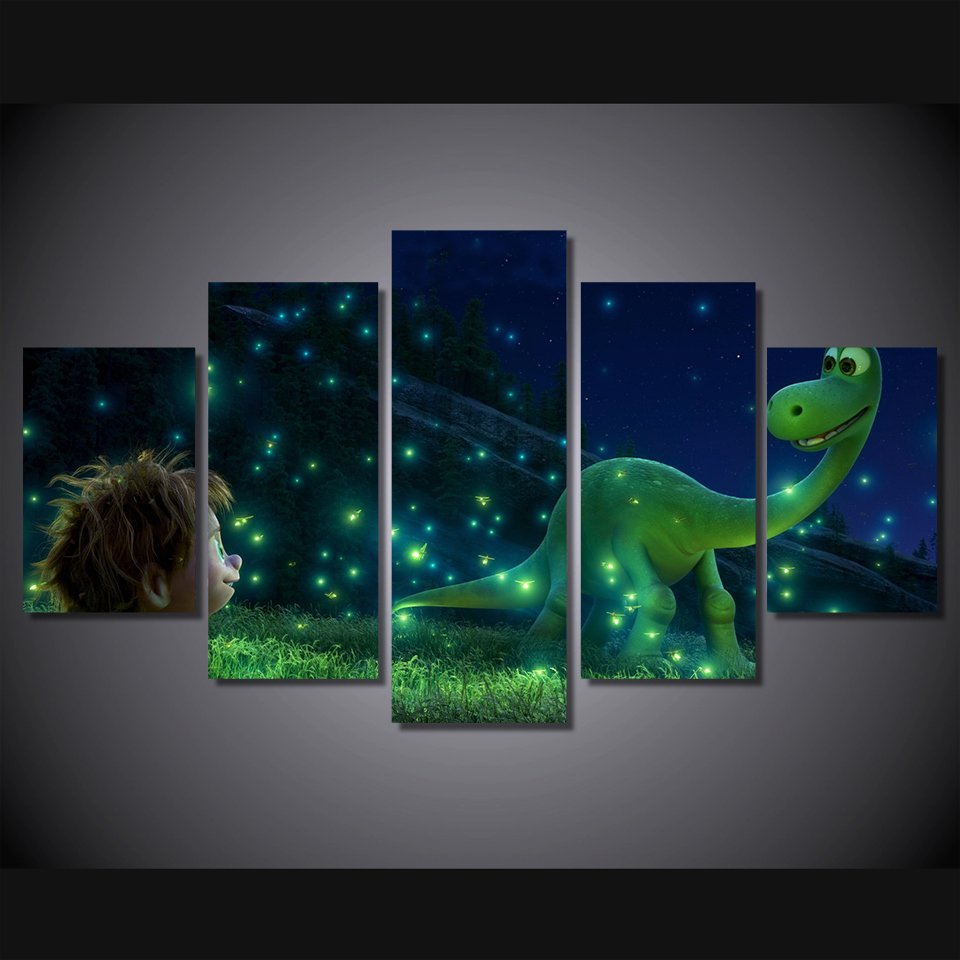The Good  Dinosaur Cartoon HD Framed 5pc Oil Painting Wall Decor