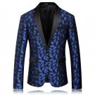 Mens Black and Blue Floral Design Tuxedo Suit Attire Coat and Pants M to 4xl Sale Ends SOON