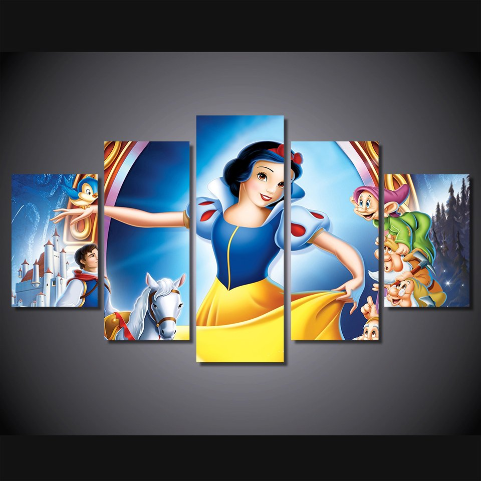 Snow White Disney Wall Decor HD 5pc Cartoon Framed Oil Painting