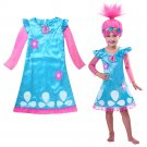 Trolls Dress and Wig Set Girls Costume Super Cute Multiple Sizes