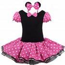 Minnie Mouse Tutu Pink Polka dot Dress Kids Girls + Headband 12M-Size 7