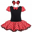 Minnie Mouse Tutu Red Polka dot Dress Kids Girls + Headband 12M-Size 7