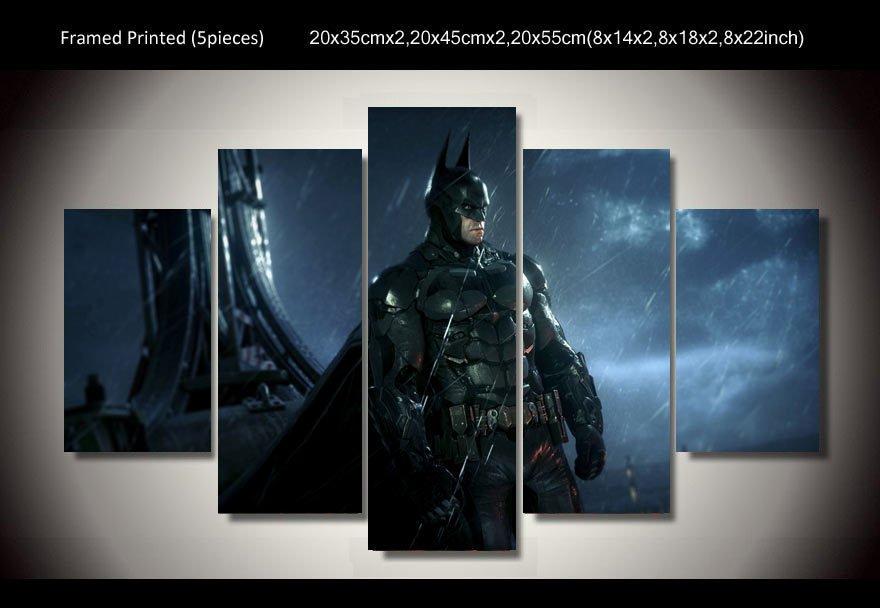 Batman Movie Gotham HD 5pc Wall Decor Framed Oil Painting Superhero art