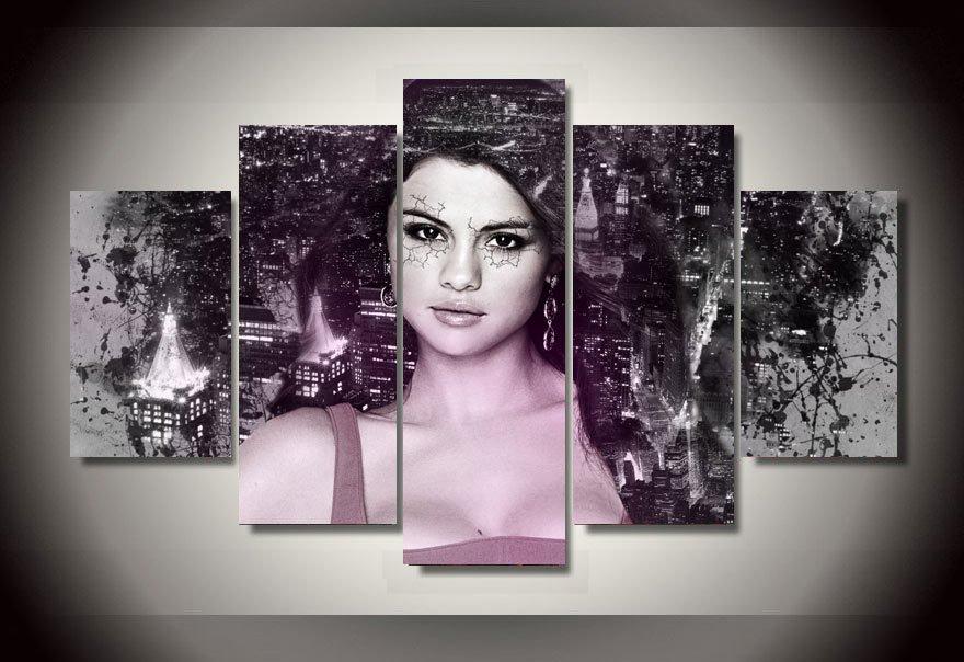 Selena Gomez Music Artist Framed 5pc Oil Painting FRAMED Wall Decor Music Artist
