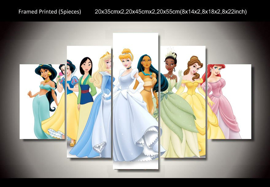 Disney Princesses Framed 5pc Oil Painting Wall Decor 2