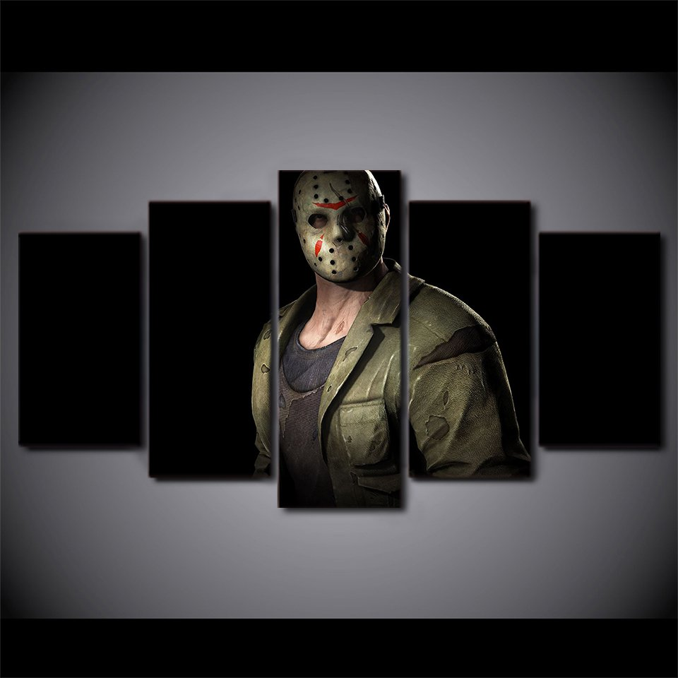 Jason Voohres Friday the 13th 5pc Wall Decor Framed  Oil Painting Horror