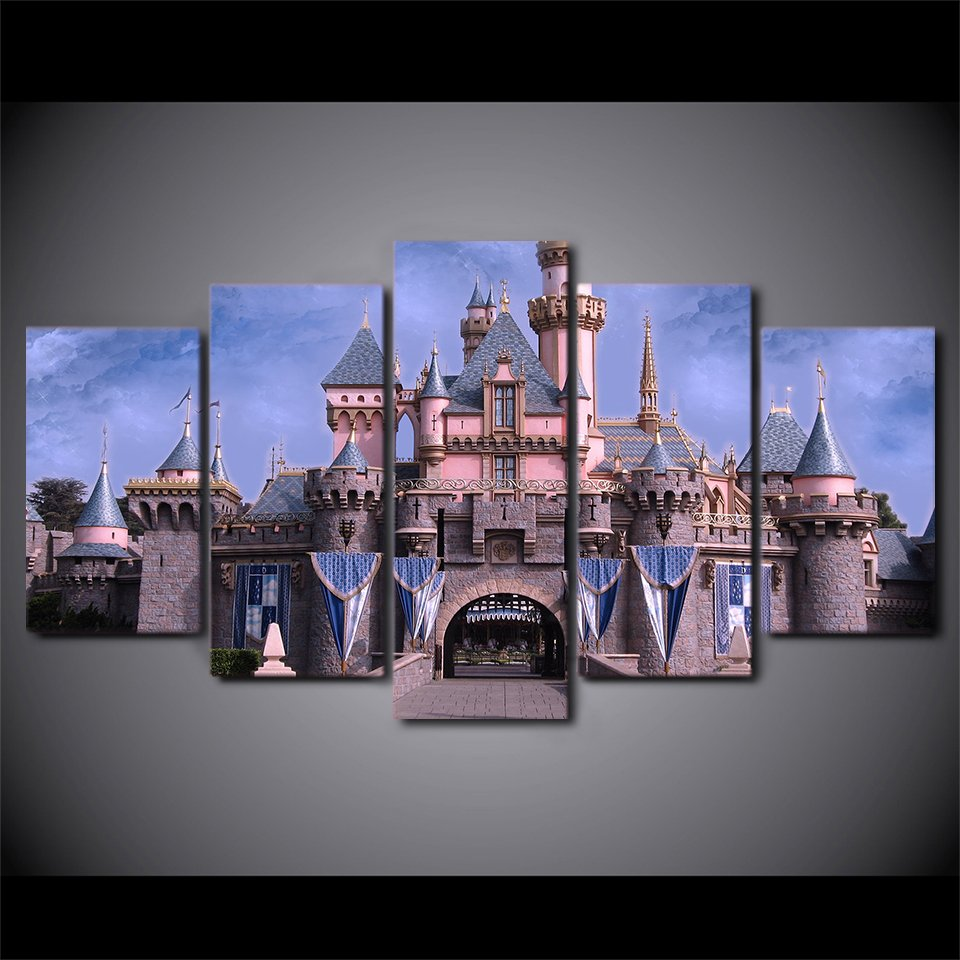 Disneys Magic Castle Sleeping Beauty Magical 5pc Wall Decor Framed Oil Painting