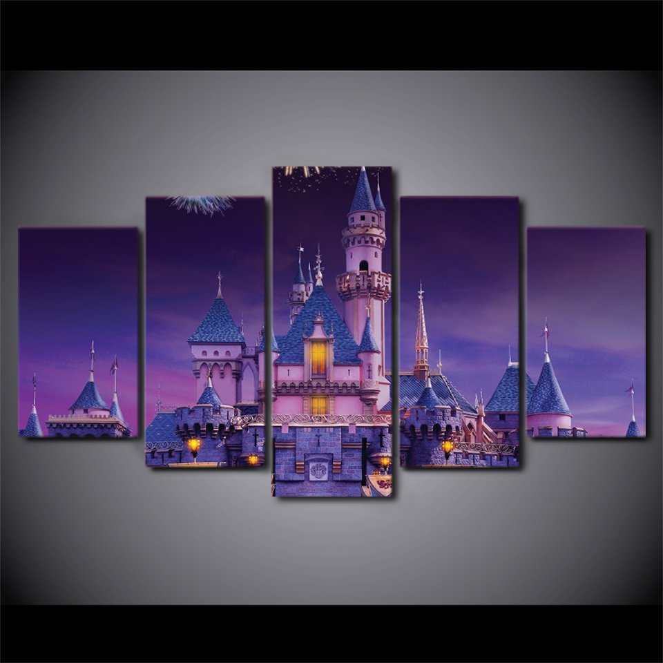 Disney Magic Castle Night time Magical 5pc Wall Decor Framed Oil Painting