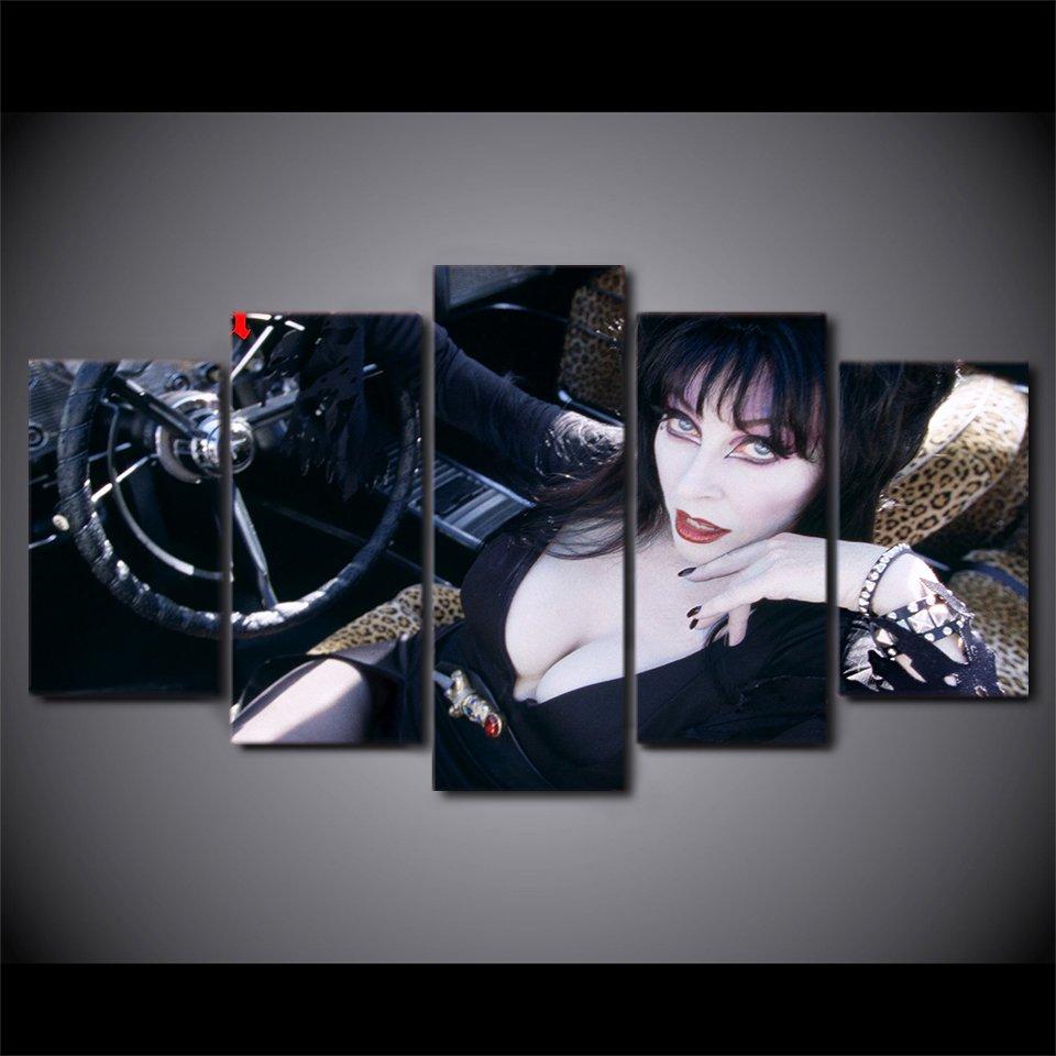 Elvira Mistress of the Dark Horror Film Fans 5pc Framed Canvas Painting Wall Decor 2
