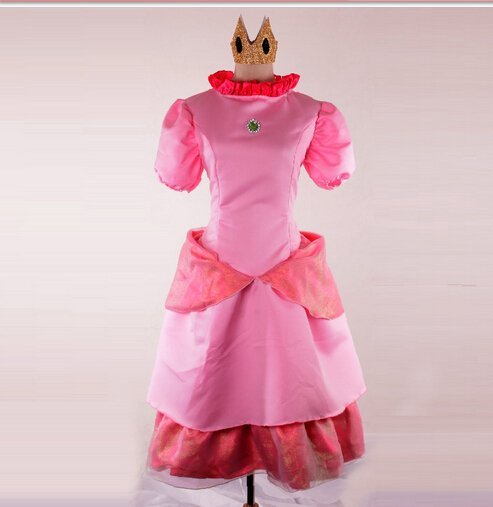 Princess Peach Super Mario Adult Female Character Costume Dress