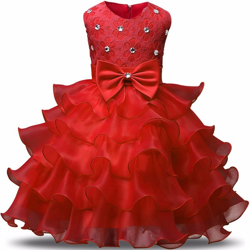 Stunning Flower Print Bow Fashion Princess Girls Child Ball Gown RED  6M-8