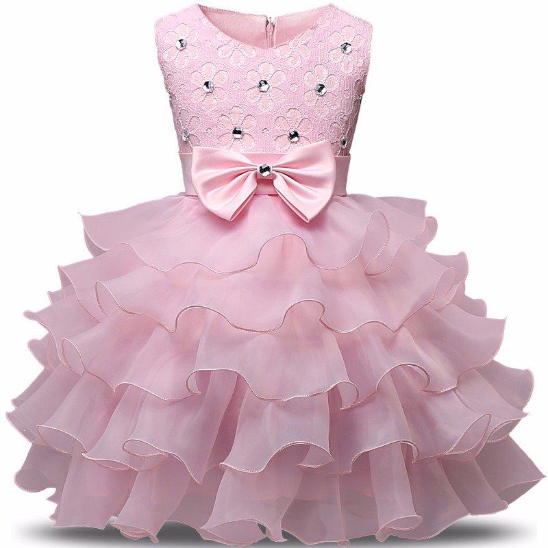 Stunning Flower Print Bow Fashion Princess Girls Child Ball Gown Pink  6M-8