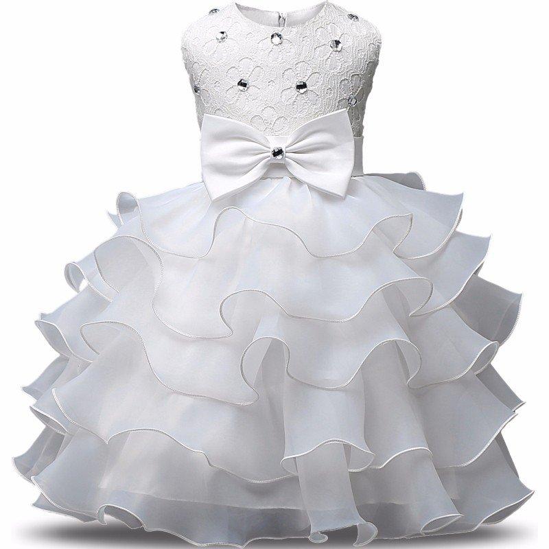 Stunning Flower Print Bow Fashion Princess Girls Child Ball Gown White  6M-8