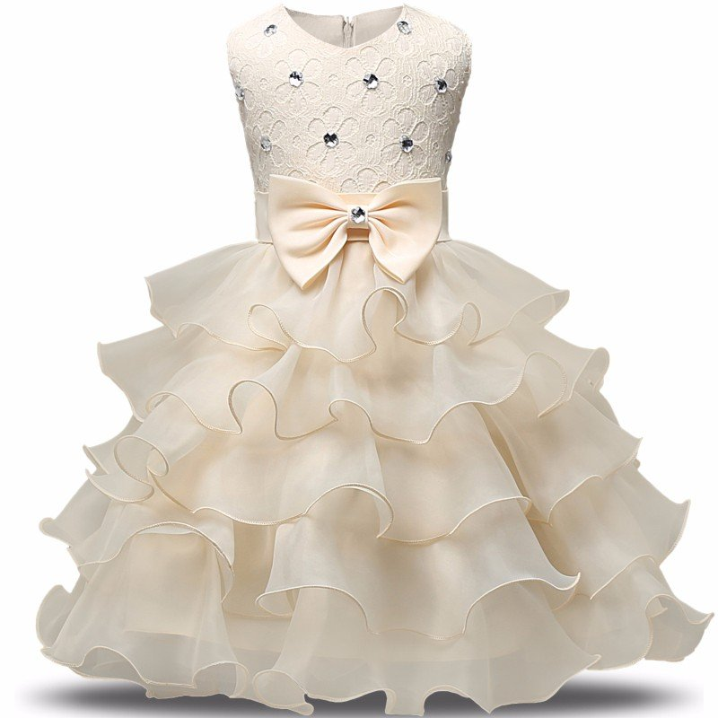 Stunning Flower Print Bow Fashion Princess Girls Child Ball Gown Ivory 6M-8