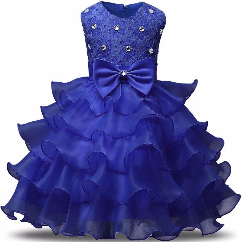 Stunning Flower Print Bow Fashion Princess Girls Child Ball Gown Blue 6M-8