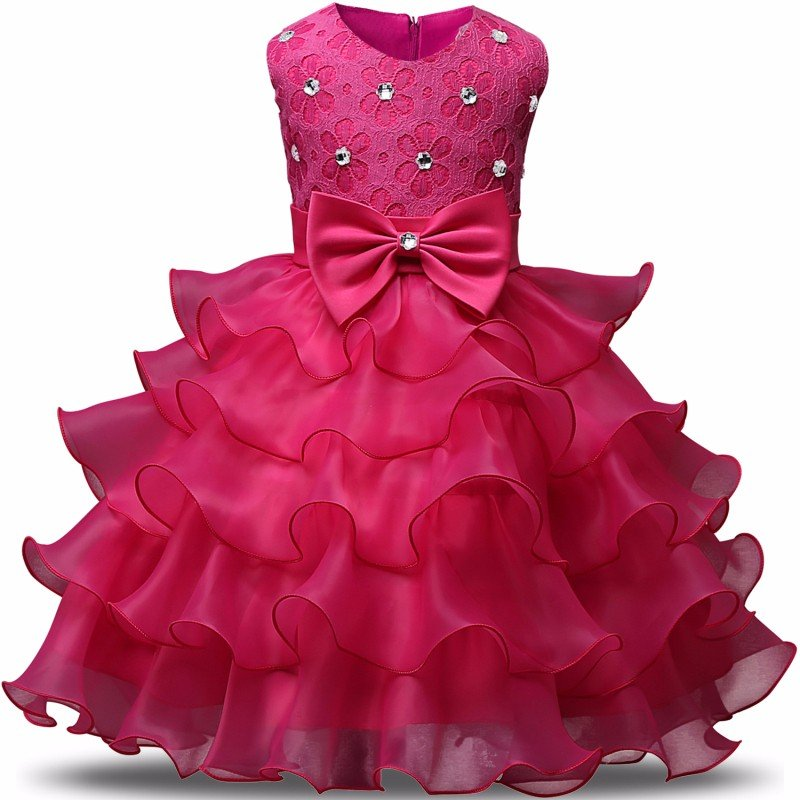 Stunning Flower Print Bow Fashion Princess Girls Child Ball Gown Hot Pink 6M-8