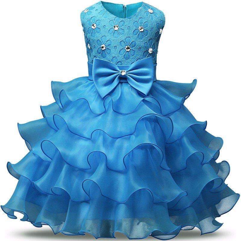 Stunning Flower Print Bow Fashion Princess Girls Child Ball Gown Sky Blue 6M-8
