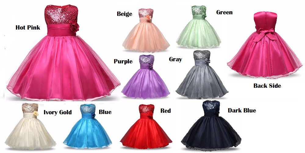 Beautiful Sequin Fashion Princess Girls Child Ball Gown 4T-12