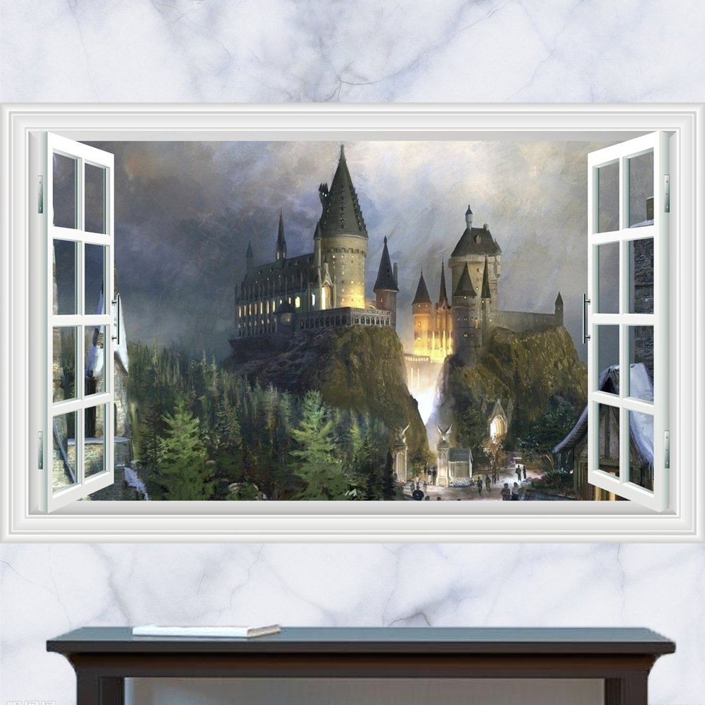 "Harry Potter Castle 3D Wall Decal 24""x35"" Design Vinyl Scene Decor"
