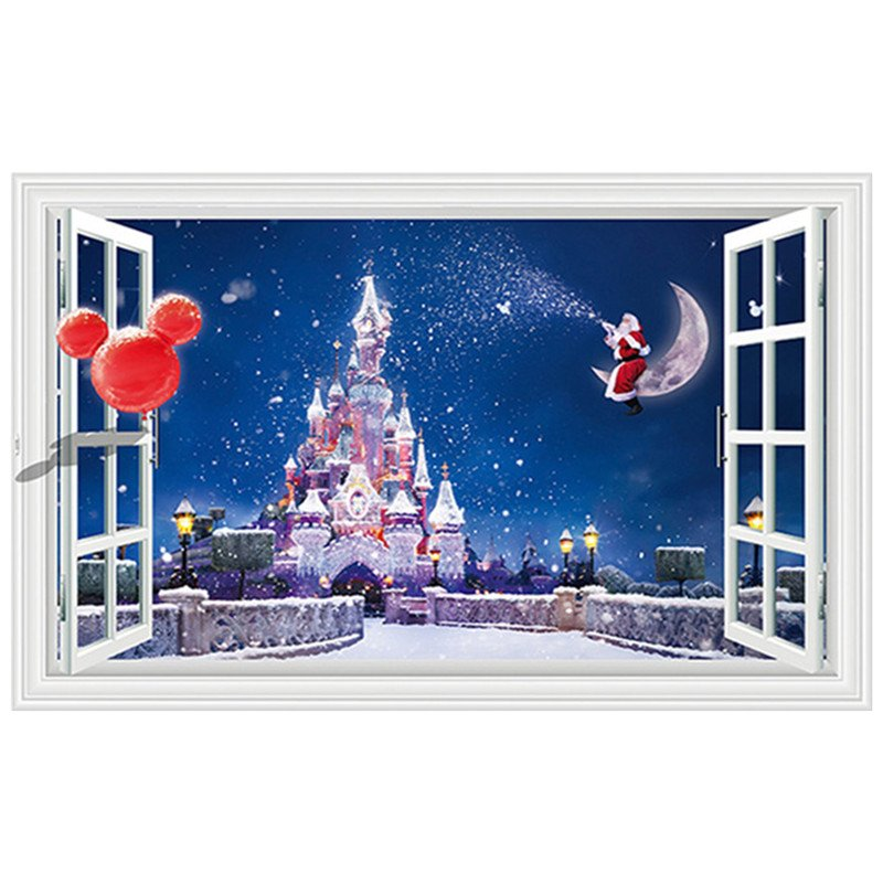 "Disneys Magic Castle Christmas 3D Wall Decal 24""x35"" Design Vinyl Scene Decor"